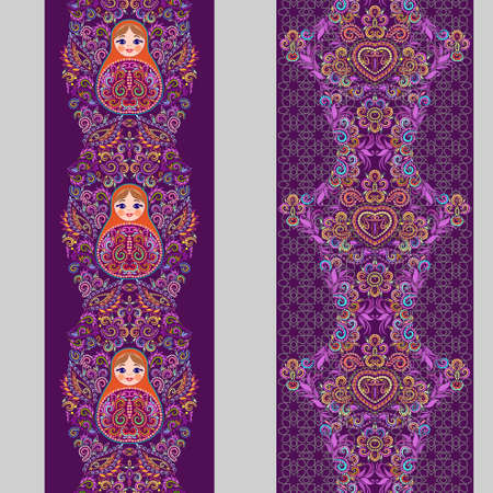 Vertical seamless lace pattern with nesting dolls . Vector set of 2. Purple background. Use for embroidery, braid, tape, ribbon.
