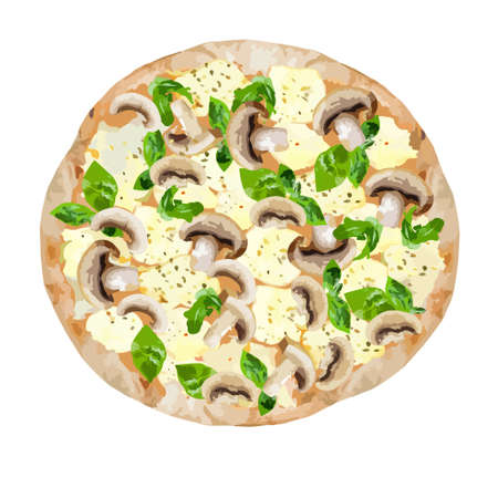 Pizza with mushrooms and mozzarella cheese. Vector clipart.