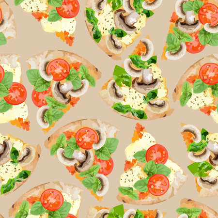 Seamless pattern with pizza slices.