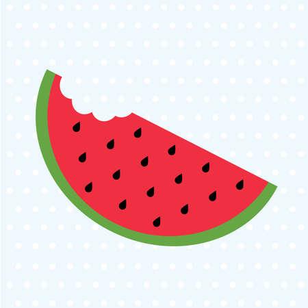 Big watermelon slice cut with seed. Flat icon.