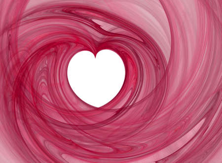 Valentines abstract heart shape, pink swirl over white photo