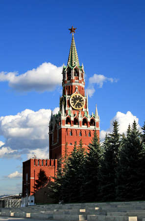 chiming: The Moscow Kremlin Spasskaya tower Stock Photo