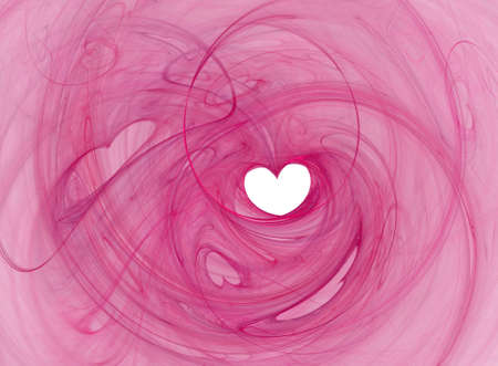 Valentines heart shape, saturated pink swirl over white photo