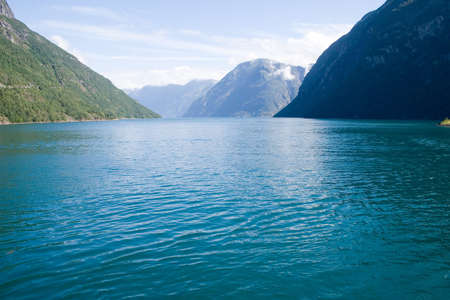 fjord: View of the Norwegian fjord Stock Photo
