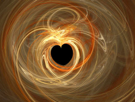 Valentines abstract heart shape, golden swirl over black photo