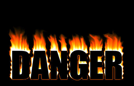 Danger sign with burning flame over black photo