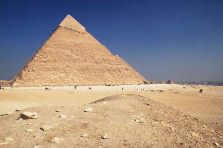 The great ancient Pyramid of Chephren in Giza, near Cairo (Egypt) photo