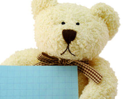 Front view of teddy bear toy with a blank note, isolated on white background photo