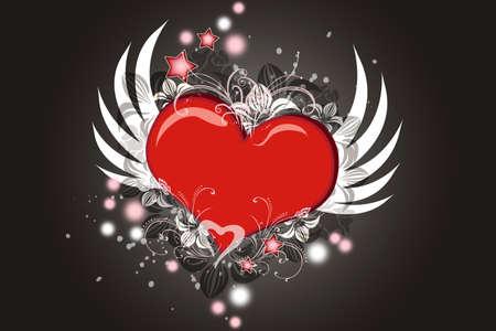 engel tattoo: Lovely Valentine Herz mit Fl�geln fliegen  Lizenzfreie Bilder