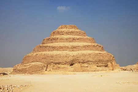 djoser: Ancient step pyramid of Djoser (Zoser) at Saqqara plateau, Egypt, near Cairo