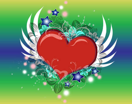 Lovely Valentine heart with wings flying Stock Photo - 3635497