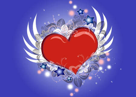 Lovely Valentine heart with wings flying photo