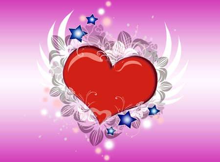 Lovely Valentine heart with wings flying Stock Photo