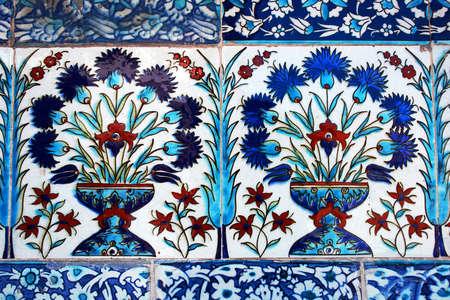 topkapi: Ancient tile pattern on ceramic wall in Topkapi Palace in Istanbul, Turkey