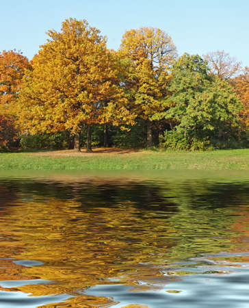 seasonality: View of colorful autumn park tress reflecting in water Stock Photo