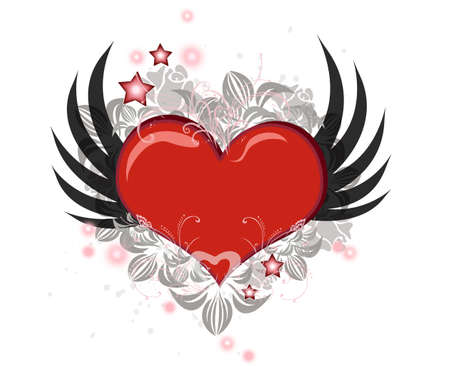 Lovely Valentine heart with wings flying isolated over white Stock Photo - 5491890
