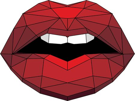 vector illustration of a red lips