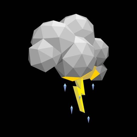 vector image of a thundercloud with lightning