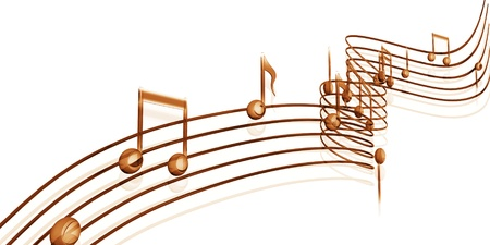 Golden musical notes on a white background Stock Photo - 15526419