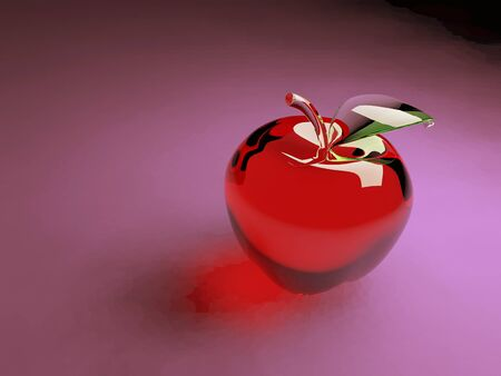 red glass apple on a magenta background photo