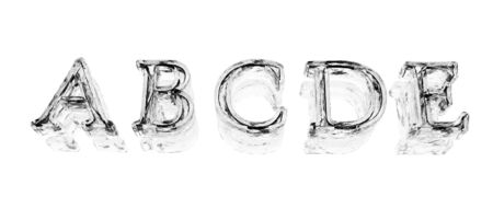 metal letters: letters on a white background