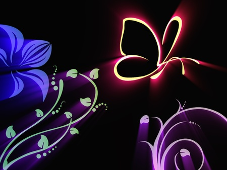 The Luminous butterfly and the pattern on black background photo