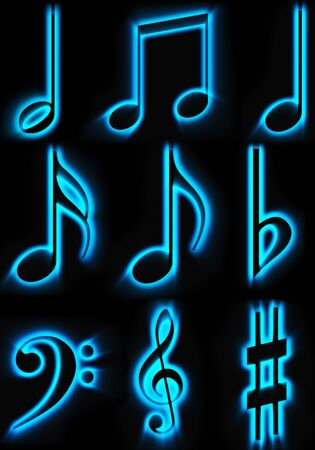 beautiful lights of musical symbols on a black background photo