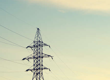 high voltage electrical towers in line Stock Photo - 15908452