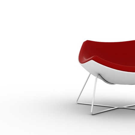 Modern red chair isolated on white Stock Photo