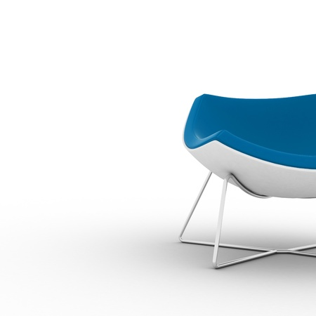 Modern blue chair isolated on white