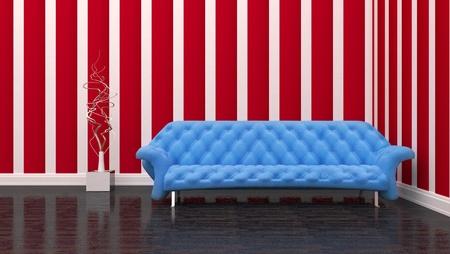 blue sofa in the room interior Stock Photo - 17021991