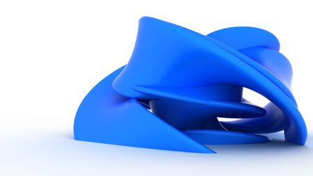 Abstract blue plastic form on a white background