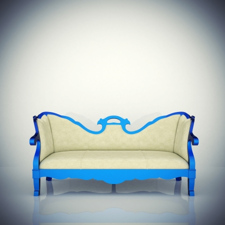 Luxury vintage blue armchair on wall background photo
