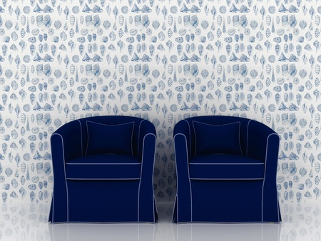 Luxury modern blue armchair on wallpaper background Stock Photo - 17259318