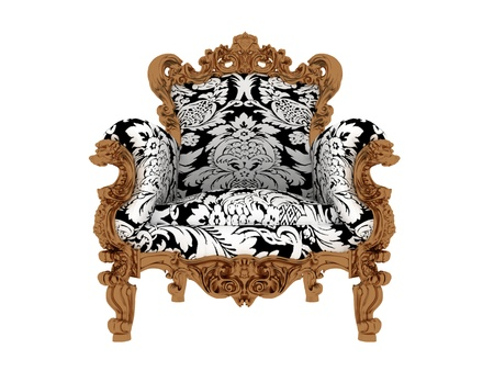 Luxury vintage blue armchair isolated on white  Stock Photo - 17259315