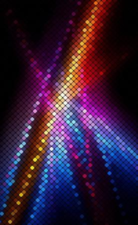 Multicolor abstract lights disco background  Square pixel mosaic Ilustração
