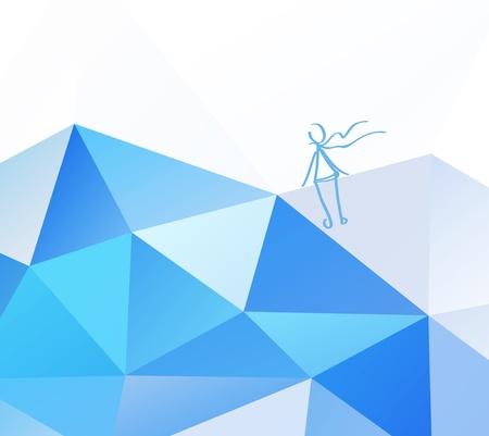 Light blue sky Geometric background with child