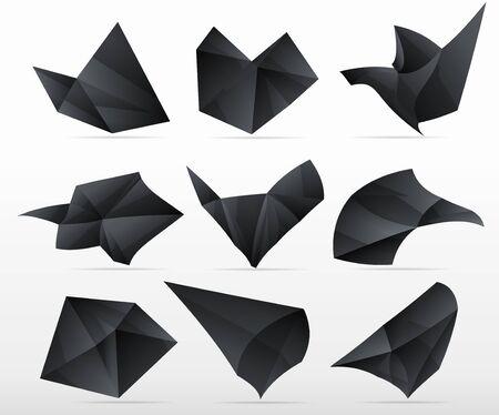 triangle labels futuristic  set . Abstract black design bubbles