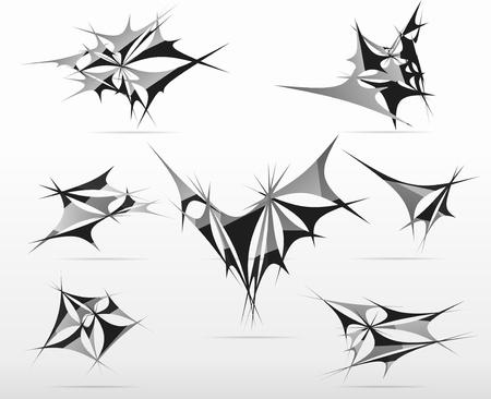 ragged:  ragged  triangle futuristic set abstract black design