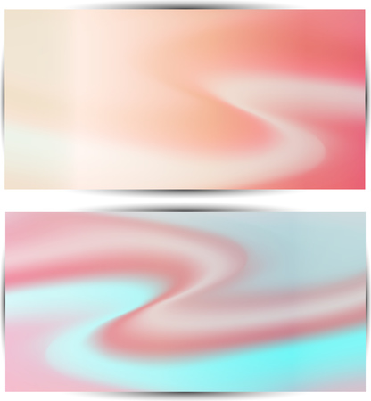 brilliancy: two multicolored wave soft pastel  abstract  background for design with gradients mesh  lines illustration Illustration