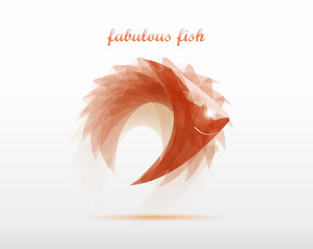 fabulous fish vector icon in geometric style design logo Vector
