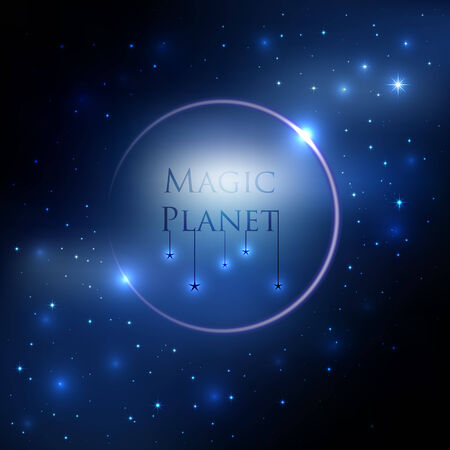 Space planet background with blue light and stars around Vector