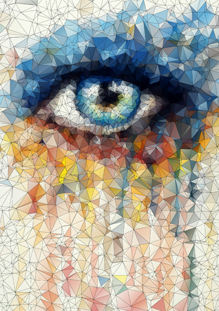beautiful eye in geometric styling abstract geometric background  stained-glass window vector Vector