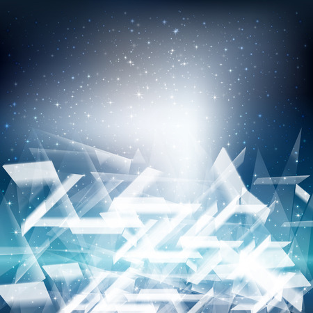 Ice Crystals Square Christmas Background Illustration