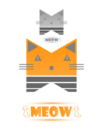 Icon Stylized Cat Flat Style With an Example In Grey Colors