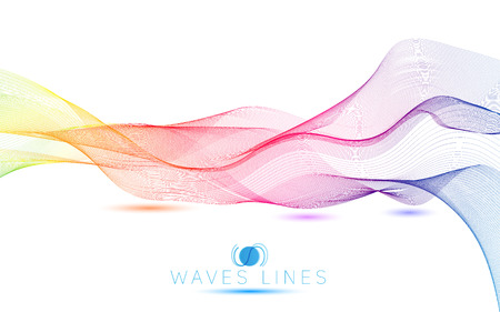 colorful light waves line bright abstract pattern illustration Vector