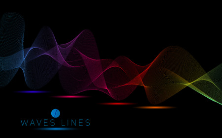 incomparable: colorful dark wave line bright abstract pattern light illustration