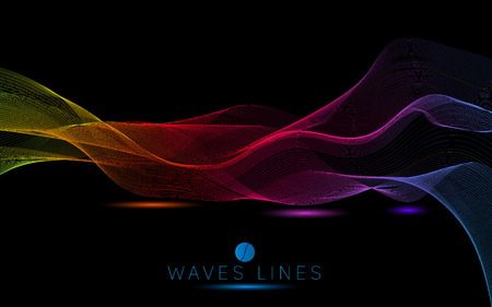 incomparable: colorful night light waves line bright abstract pattern illustration