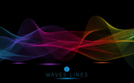 incomparable: colorful gradient night light waves line bright abstract pattern illustration