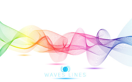 incomparable: rainbow colorful gradient light waves line bright abstract pattern vector Illustration